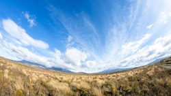 An image of a Mount Ruapehu volcano in New Zealand fisheye lens