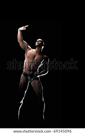 An image of a muscular athlete man pointing - stock photo