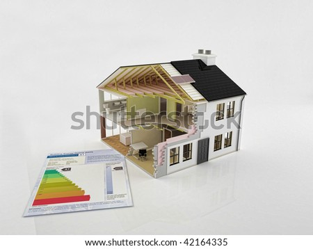 An image of a new house construction with energy saving certificate - stock photo