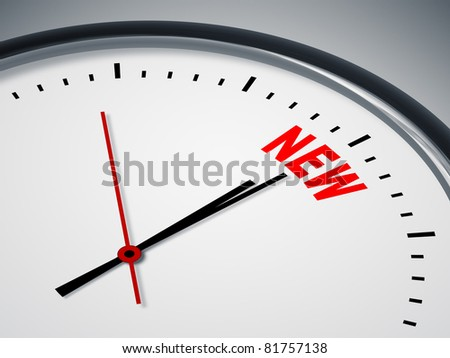 An image of a nice clock with the word NEW