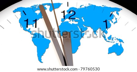 An image of a nice clock with world map