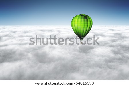 An image of a nice green balloon above the clouds with space for your text