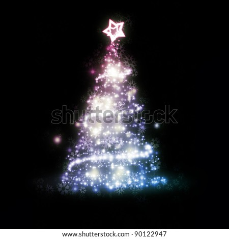 An image of a nice red blue christmas tree