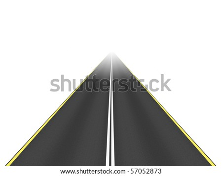 An image of a nice road isolated on white - stock photo