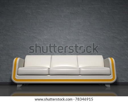 An image of a nice white sofa with yellow line