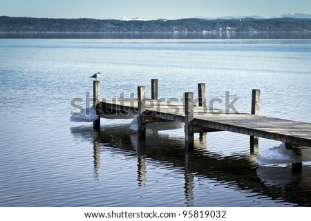 An image of a nice winter scenery lake Starnberg