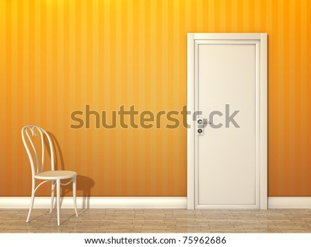 An image of a orange room with white door and chair