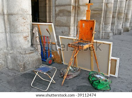 An image of a painting studio in the street