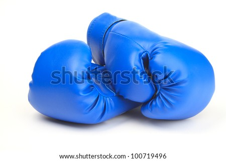 An image of a pair of blue boxing gloves