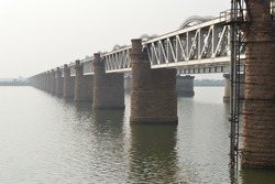 An image of a railway bridge on the Godavari river, Telengana, India