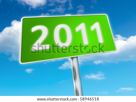 An image of a road sign to the new year 2011