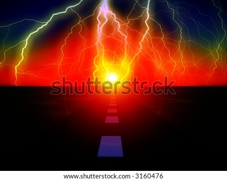 An image of a road with the sun at the end of it,with added lightning.