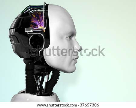An image of a robot man's head in profile.