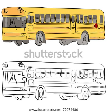 An image of a school bus line drawing.