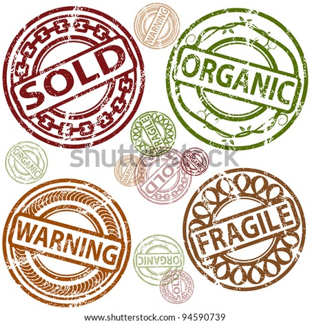 An image of a set of sold, organic, warning, and fragile rubber stamps.