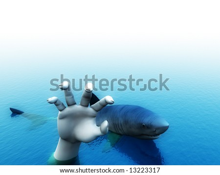 An image of a shark that is after a man. It would be a good conceptual image for people that are requesting help.