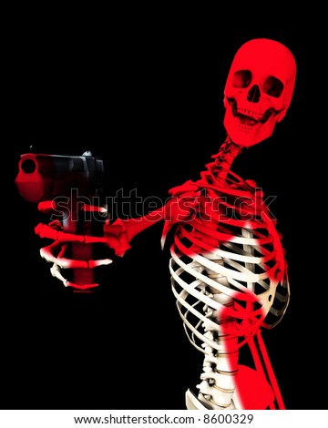 An image of a skeleton with a firearm, a possible interesting conceptual modern version of death. Or a medical image of a Skeleton in action.