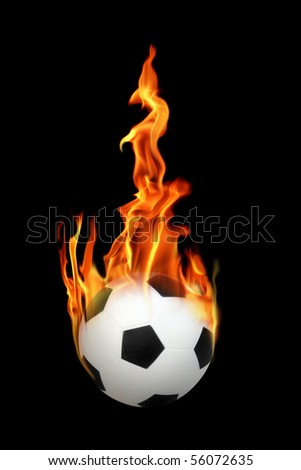 an image of a soccerball on fire