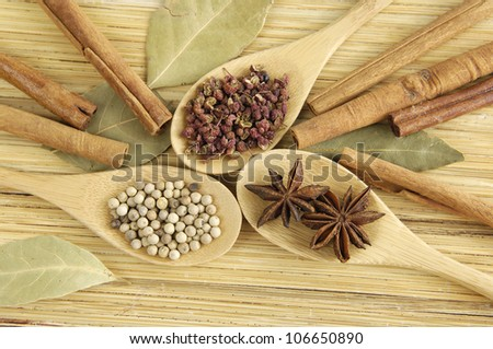 An image of a spices spoon with dry bay leaf - stock photo