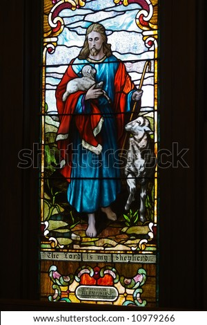 an image of a stained glass window The Lord is my Shepherd
