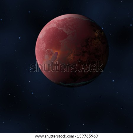 An image of a strange red planet in space