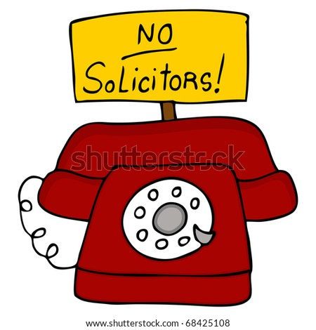 An image of a telephone with a no solicitors sign.
