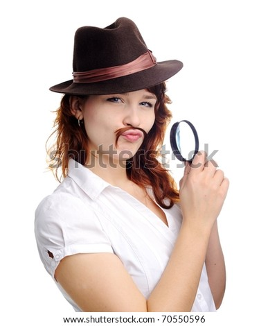 An image of a woman with magnifying glass