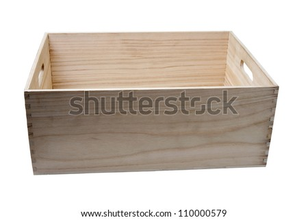 An image of a wooden box on white background