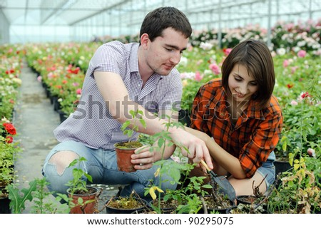 An image of a young couple in a greenhouse