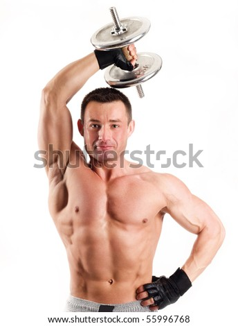 An image of a young strong man with dumbbell