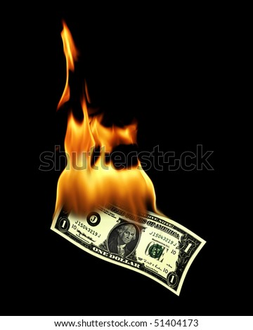 an image of an one dollar bill on fire