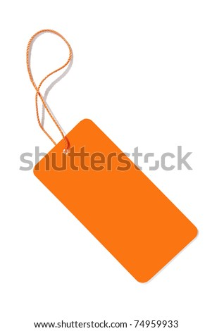 An image of an orange label isolated on white