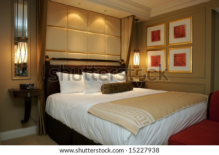 An image of an upscale hotel room - stock photo