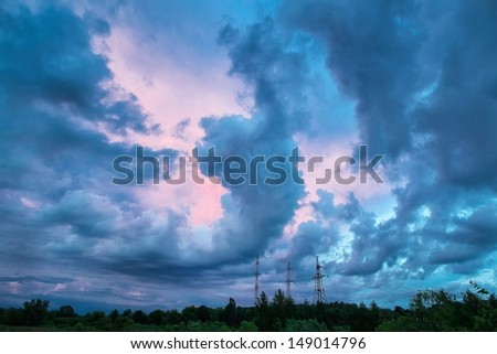 An image of blue clouds in the sky
