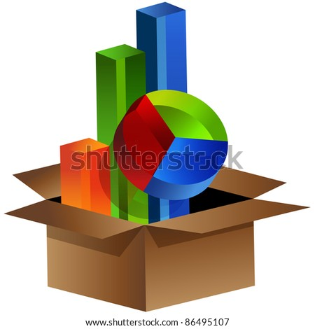 An image of business charts coming out of a box.
