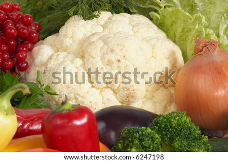 An image of cauliflower amongst vegetables
