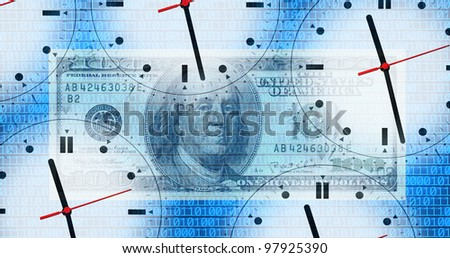 an image of  clocks and money in blue background