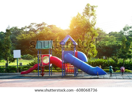 An image of colorful children playground, without children.