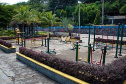An image of colorful children playground, without children, in the Laman Boenda area. Tanjungpinang, Riau Islands, Indonesia