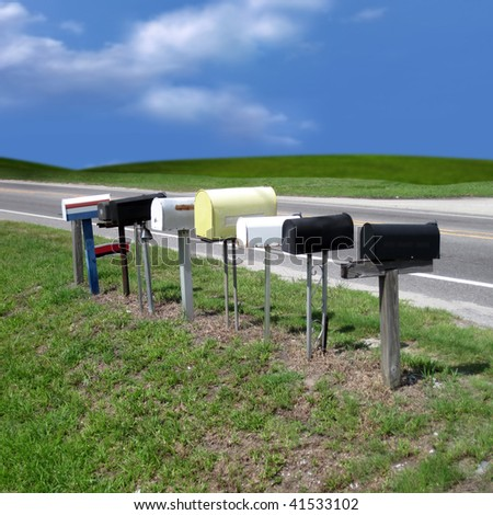 an image of different mailboxes in a row