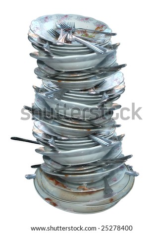an image of dirty dishes on white background