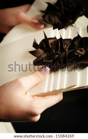 stock photo an image of formal wedding programs being handed out at the