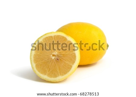 An image of fresh yellow lemons on white background