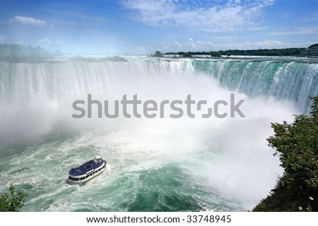 An image of Niagara Falls from the Canadian side.