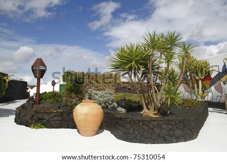 An image of one artistic garden in a museum in Lanzarote