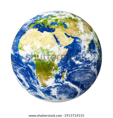 An image of our planet Earth isolated on white with clipping mask. 3D Graphic with high detailed NASA images.