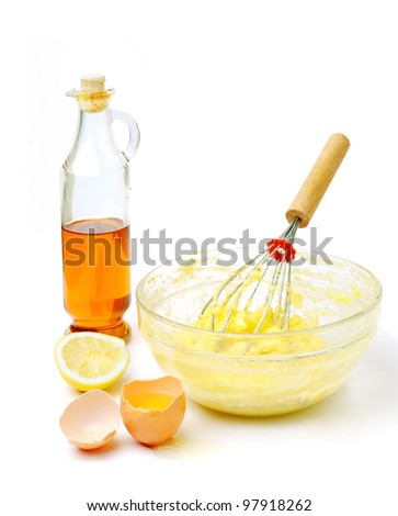 An image of products for mayonnaise on white background