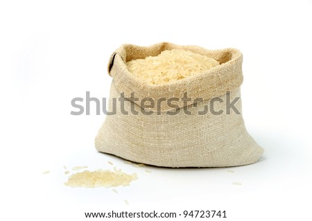 An image of raw rice in a textile sack