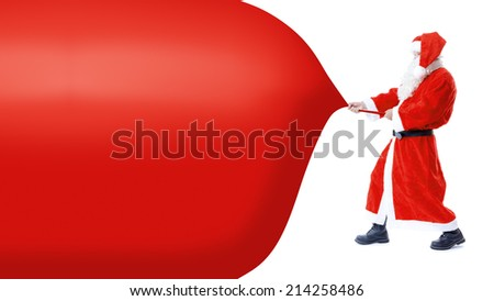 An image of Santa Claus is pulling something - Shutterstock ID 214258486