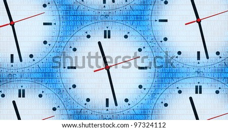 an image of several clocks and binary code - stock photo
